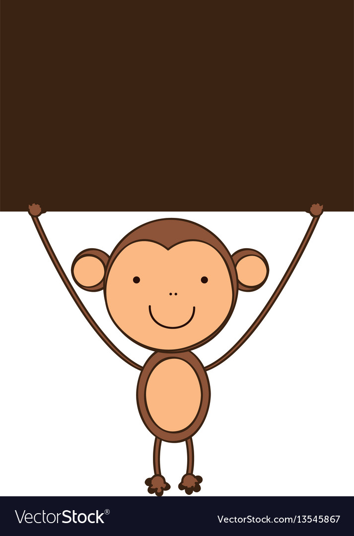Monkey with a wood in the hand icon vector image
