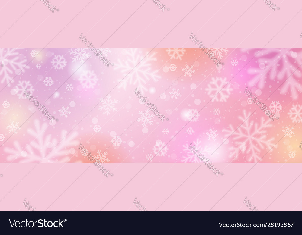 pink christmas banner with white blurred vector image pink christmas banner with white blurred vector image