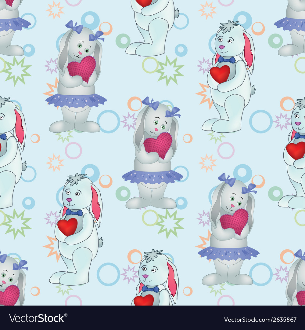 Seamless pattern Bunnies with Valentine hearts