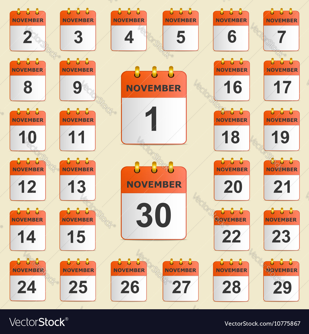 Set of icons for the calendar in November vector image