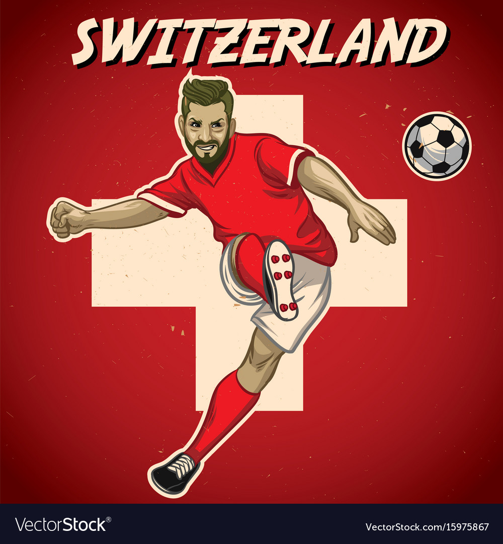 Switzerland soccer player with flag background