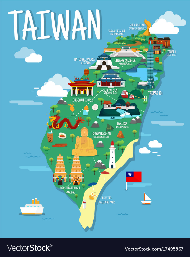Taiwan Map With Colorfaul Landmarks Design Vector Image - National landmarks map