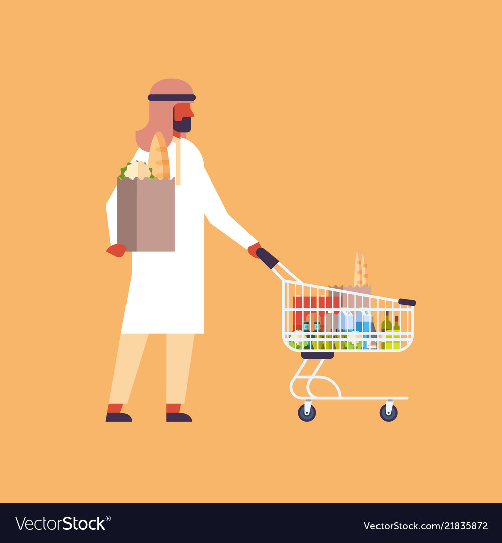 Arabic man carrying shopping cart purchase paper
