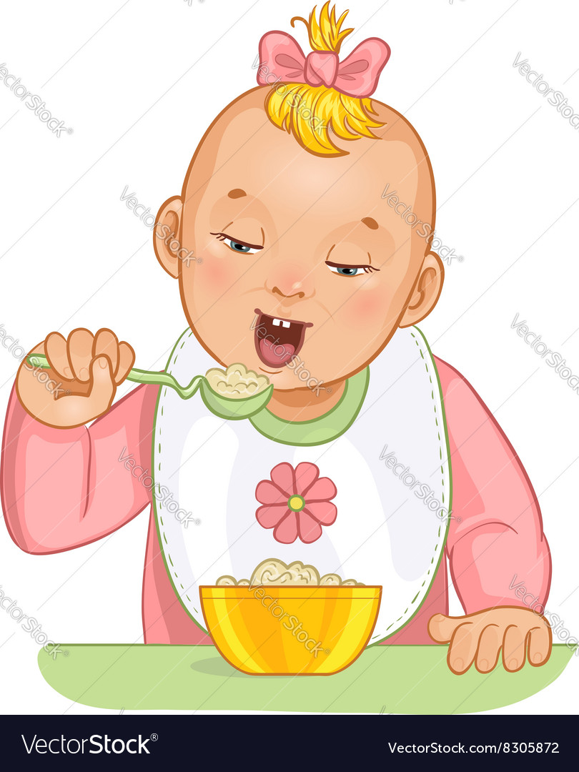 Baby girl with spoon and plate