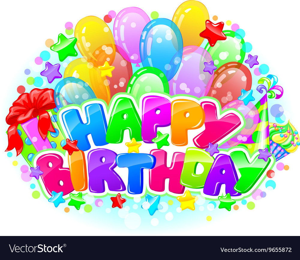 Birthday Bright Composition Royalty Free Vector Image