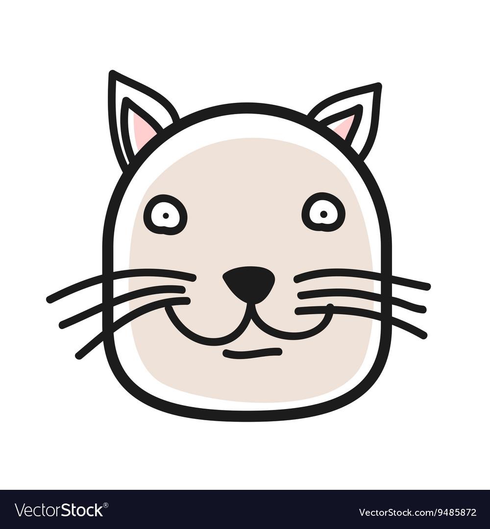 Cartoon animal head icon Cat face avatar for vector image
