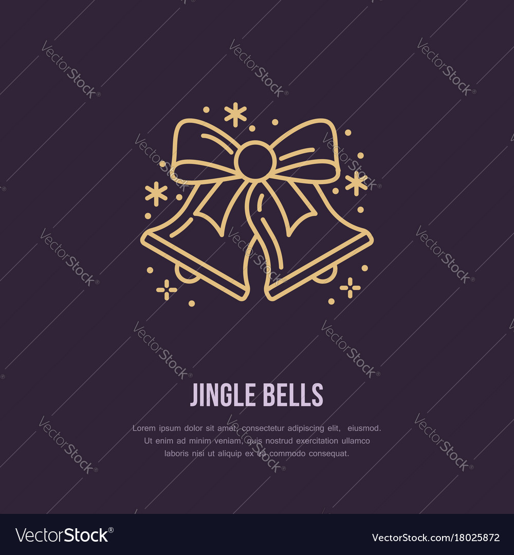 Christmas bell new year flat line icons winter vector image