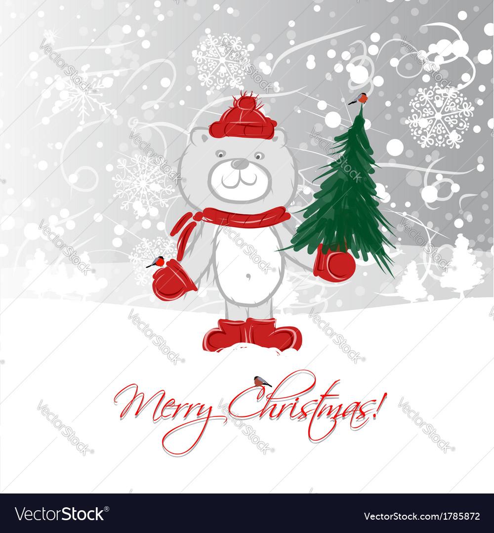 Christmas card design with funny bear