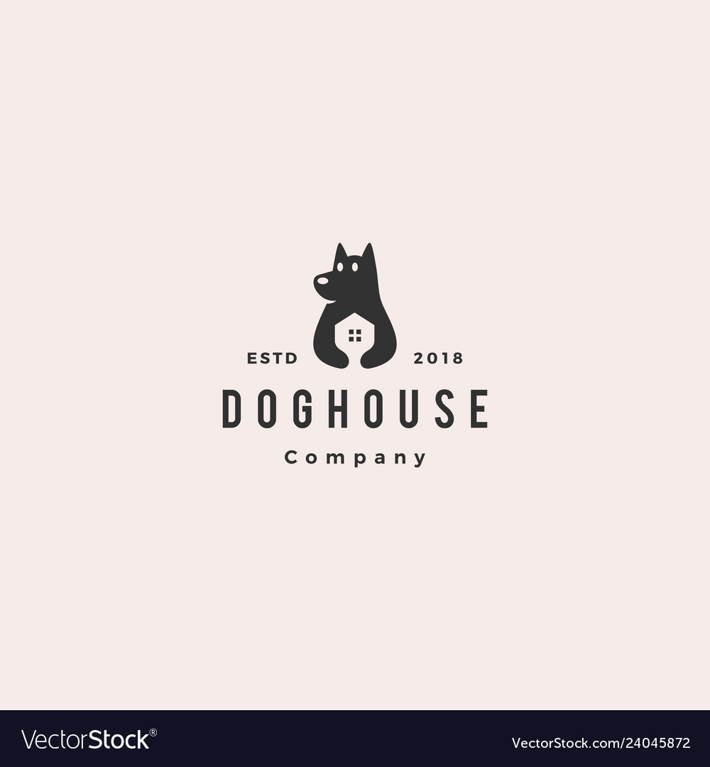 Dog house pet home logo hipster retro vintage icon