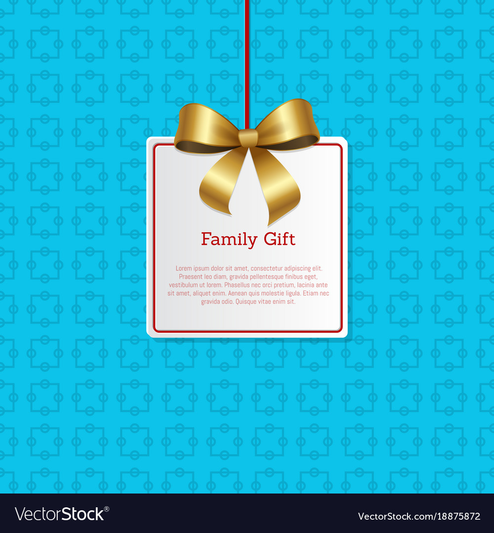 Family Gift Card Hanging On Knit Label Tag Place Vector Image