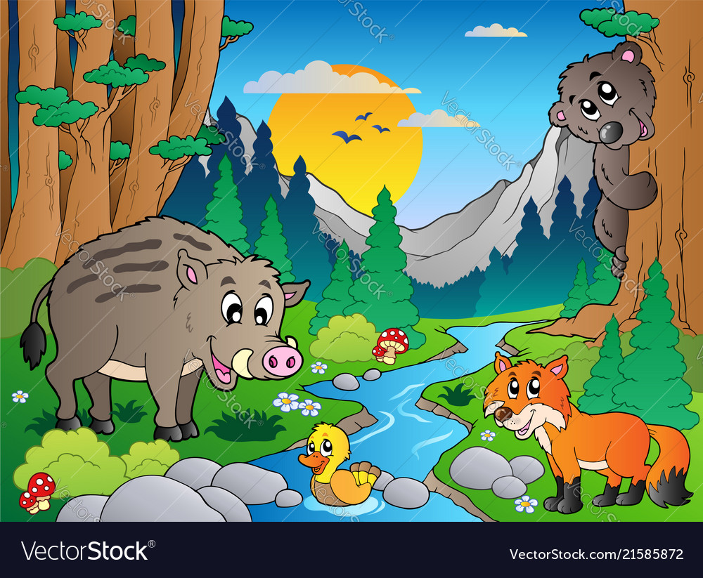 Forest scene with various animals 3