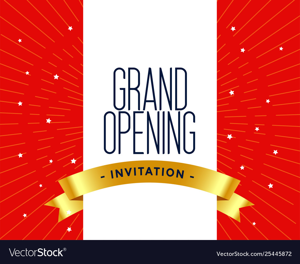 Grand opening invitation card template Royalty Free Vector