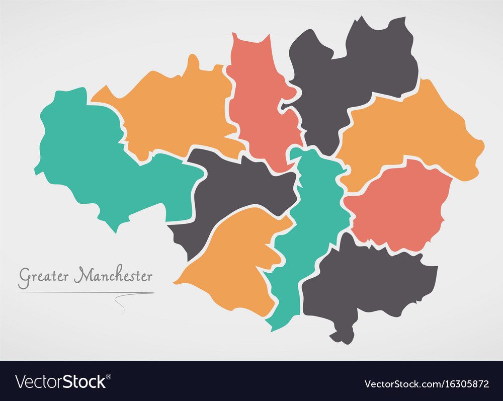 Map Of England Manchester.Greater Manchester England Map With States And