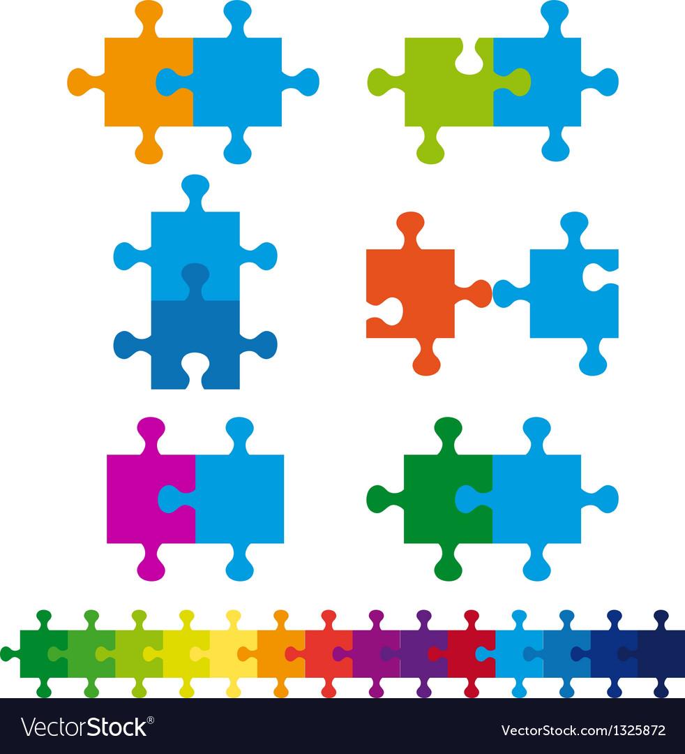 Jigsaw puzzle set vector image