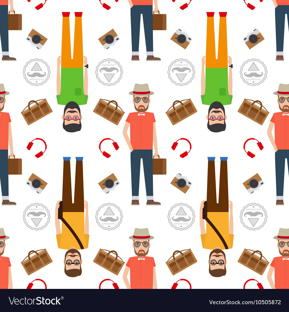 Man hipster flat style seamless pattern