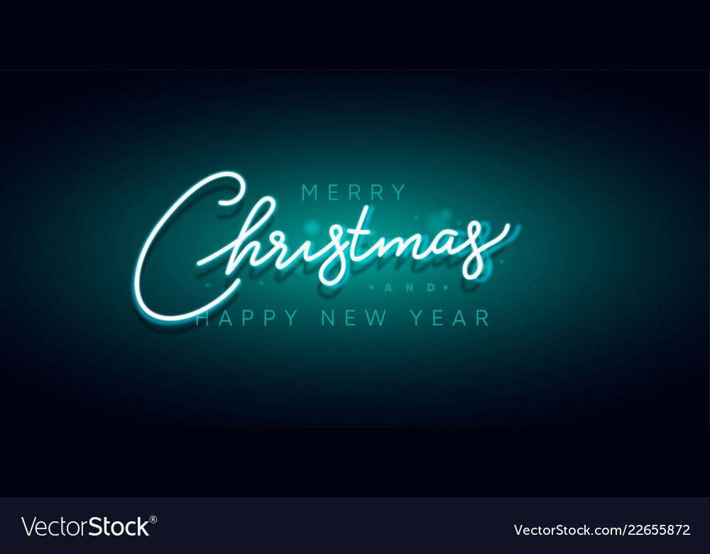 Merry christmas and happy new year neon sign xmas