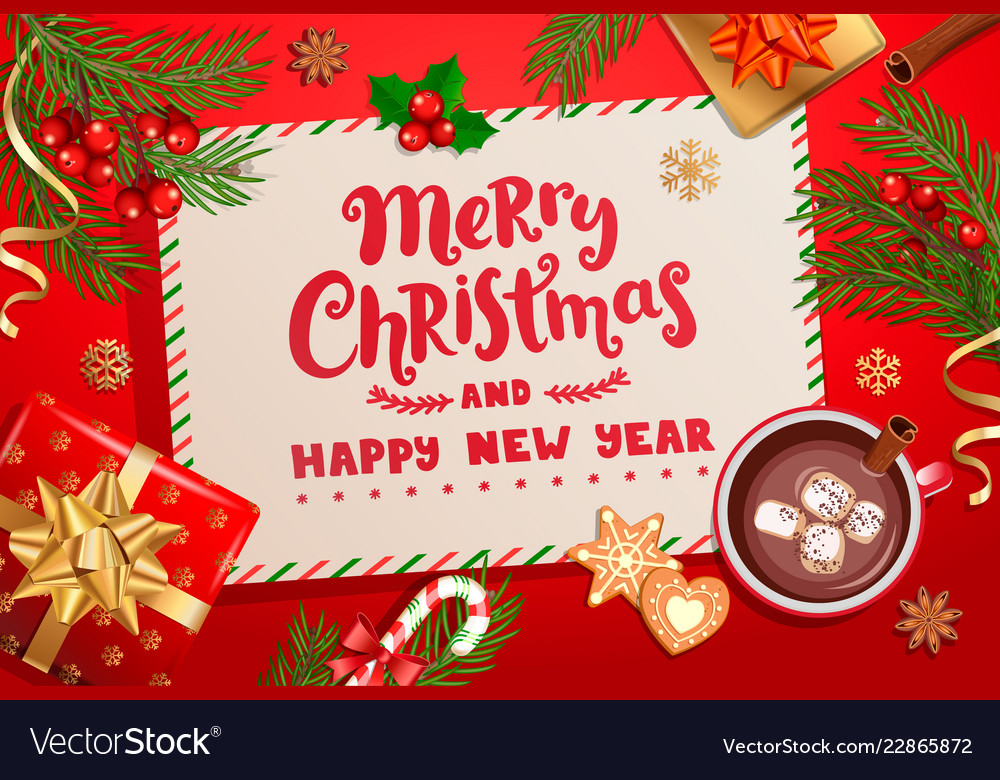 merry christmas new year card for winter holidays vector image