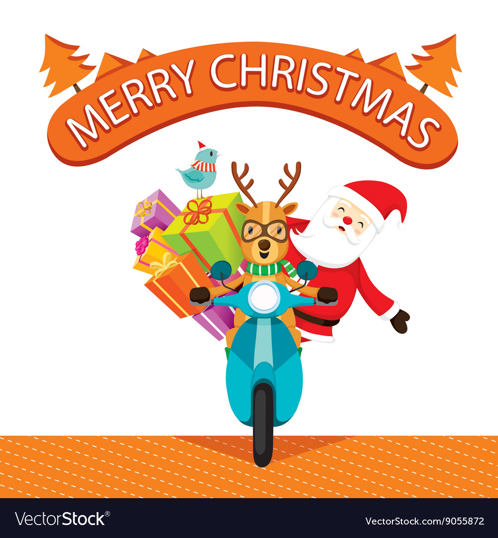 Reindeer Riding Motorcycle With Santa Claus