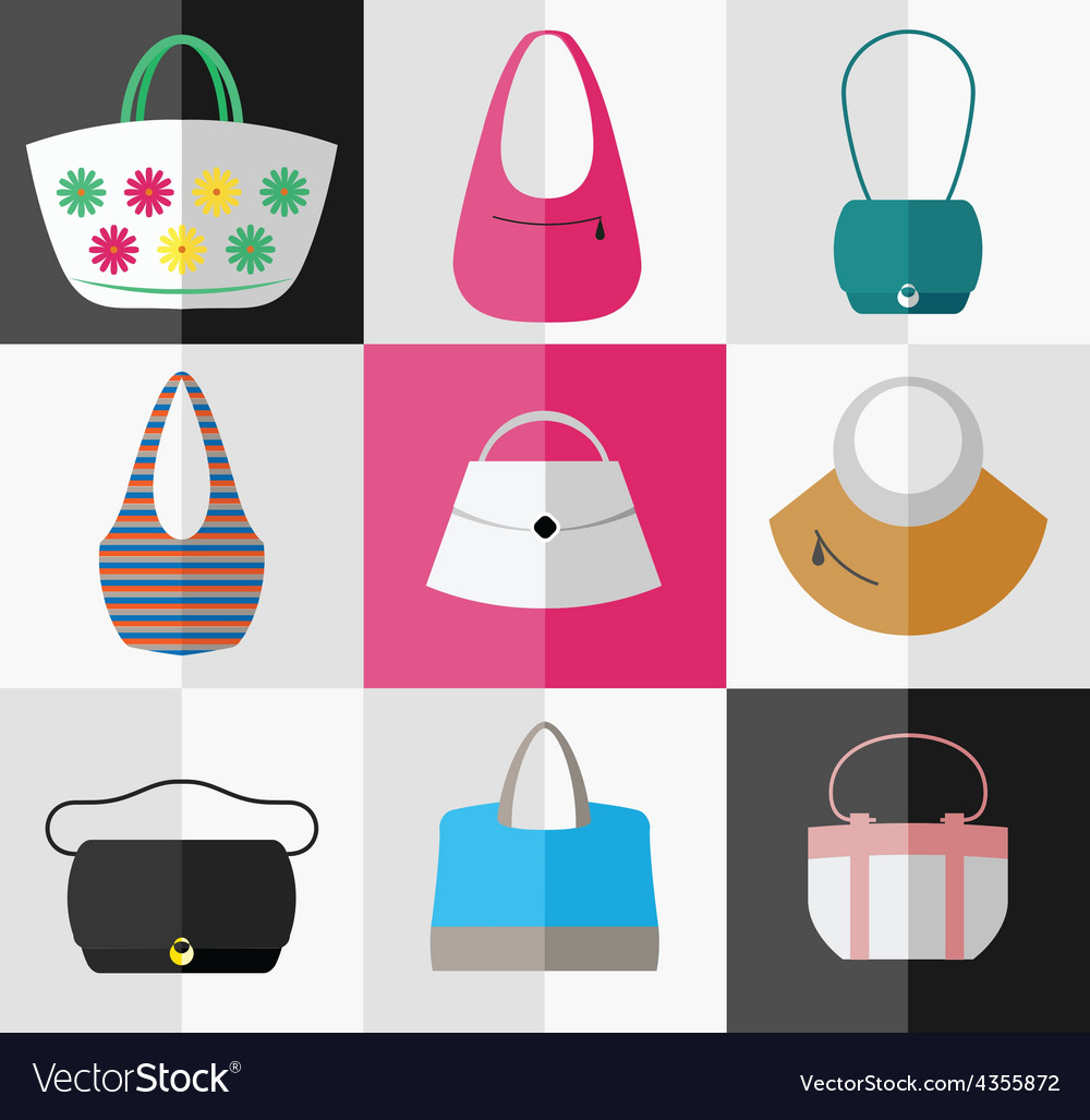 e848e860d9c Set of flat womens bag and purse icons