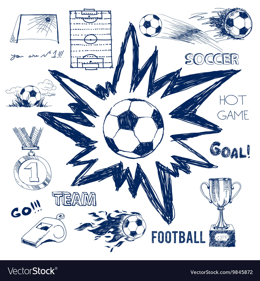 Sketch of football elements vector image