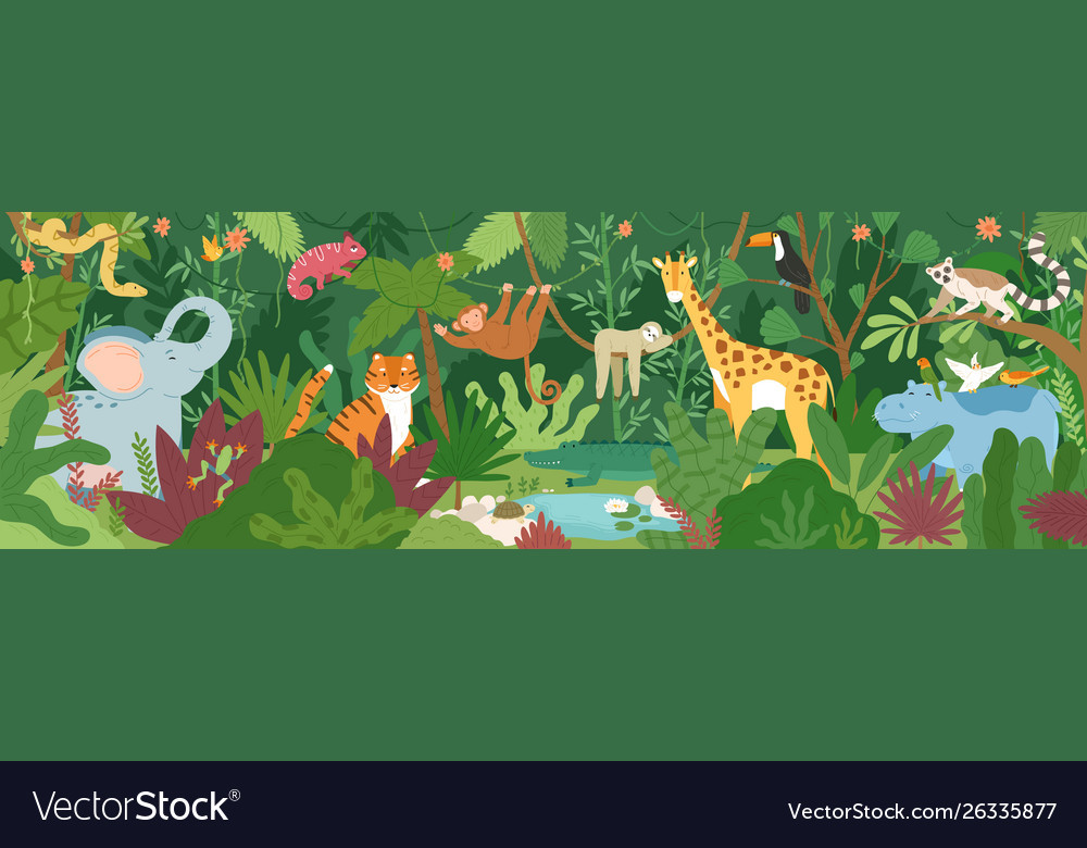 Adorable exotic animals in tropical forest or