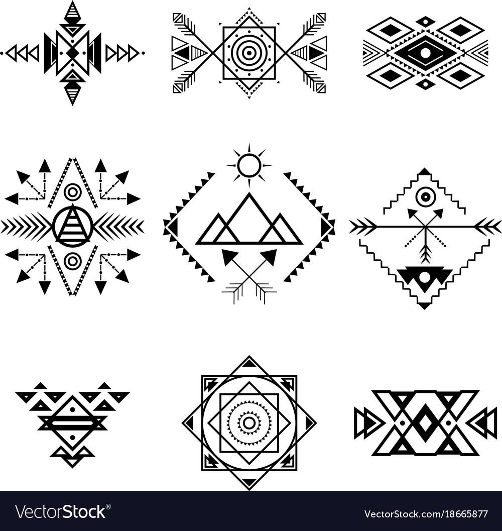 Aztec style ornament black thin line icon set vector image