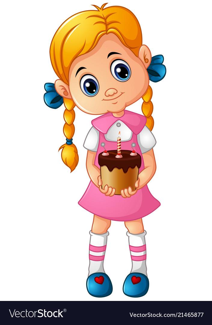 Cartoon little girl holding a birthday cake