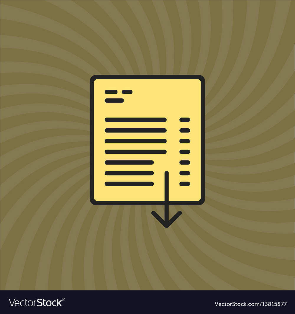 Document download icon simple line cartoon
