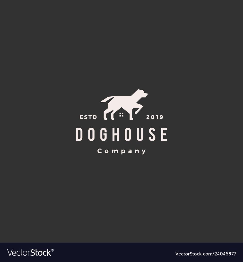 Dog house pet home logo hipster retro vintage icon