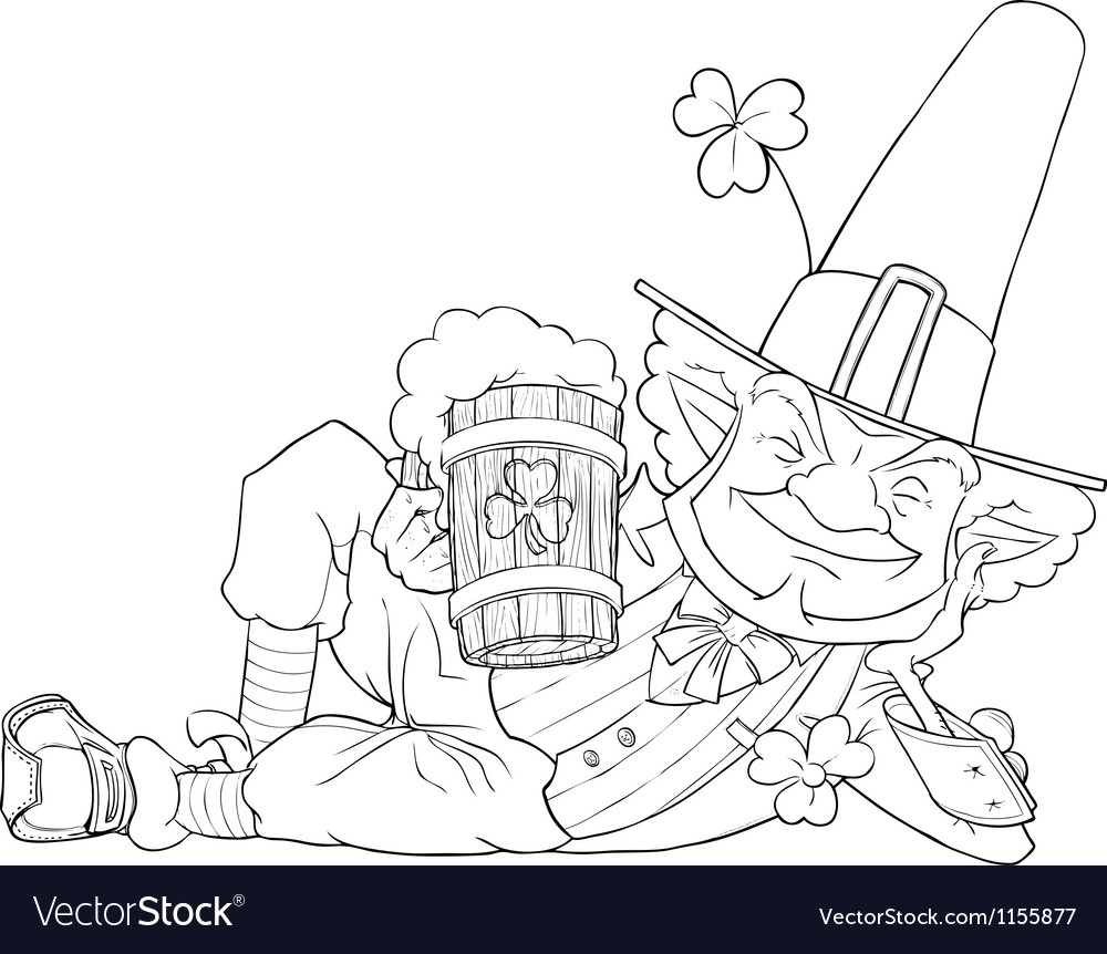 Elf leprechaun with beer for