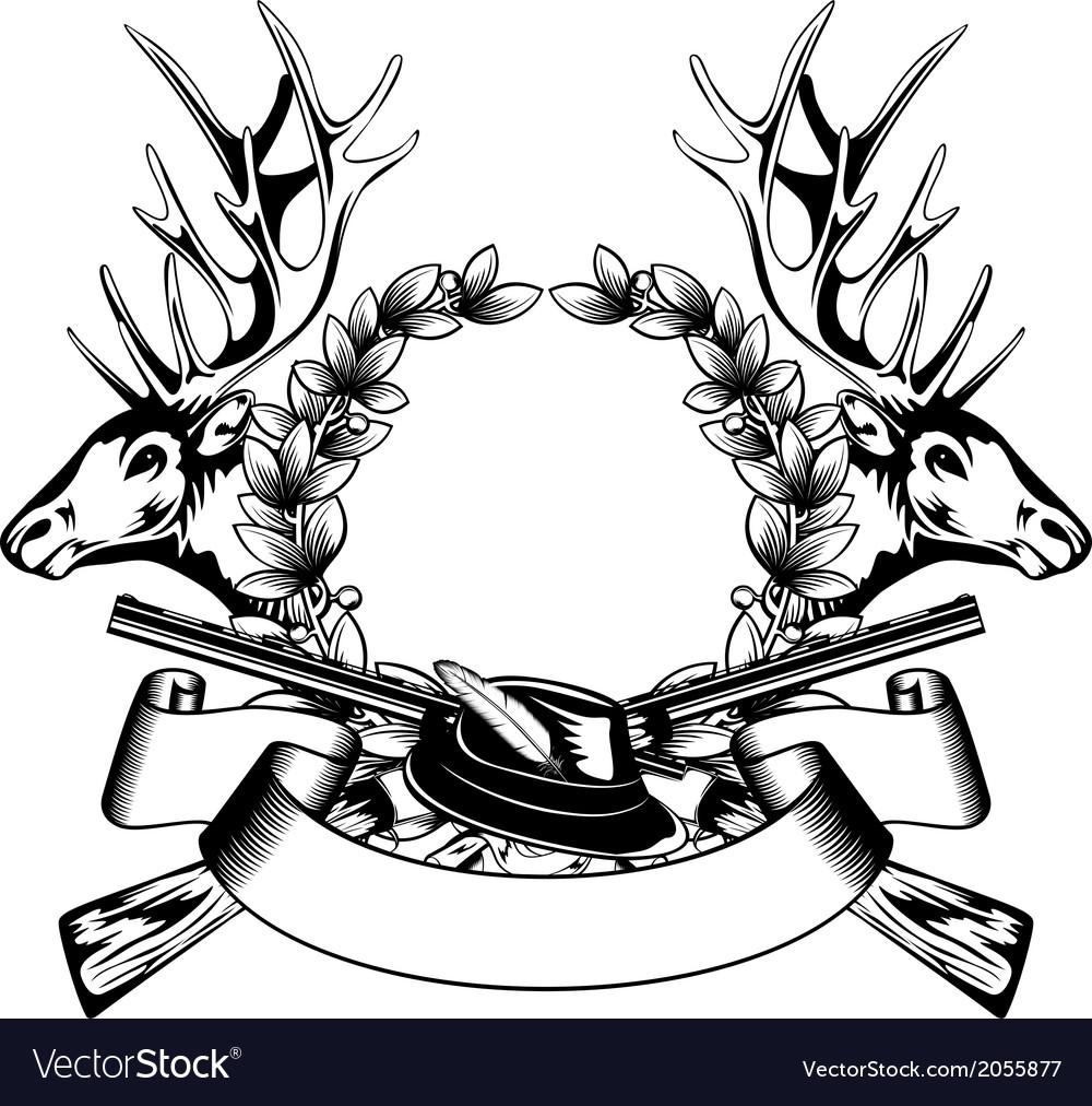 Elk heads crossed rifle hat and oak wreath vector image