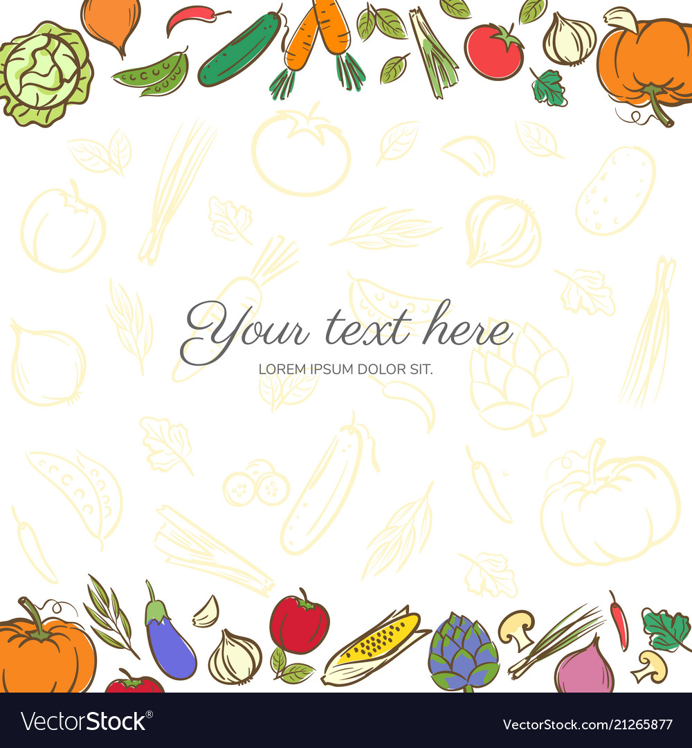 Fruits and vegetables cute banner background