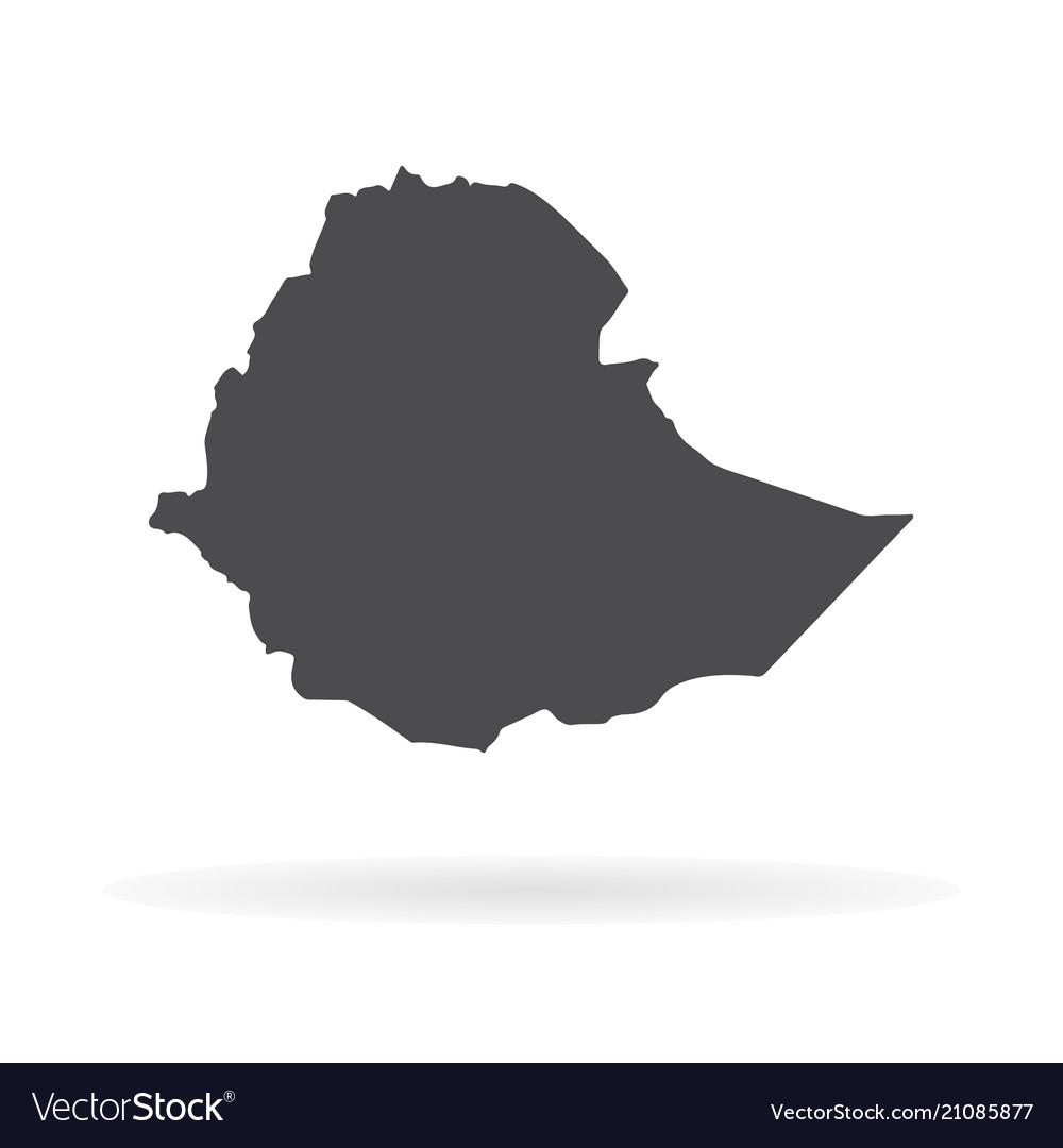 Map ethiopia isolated black
