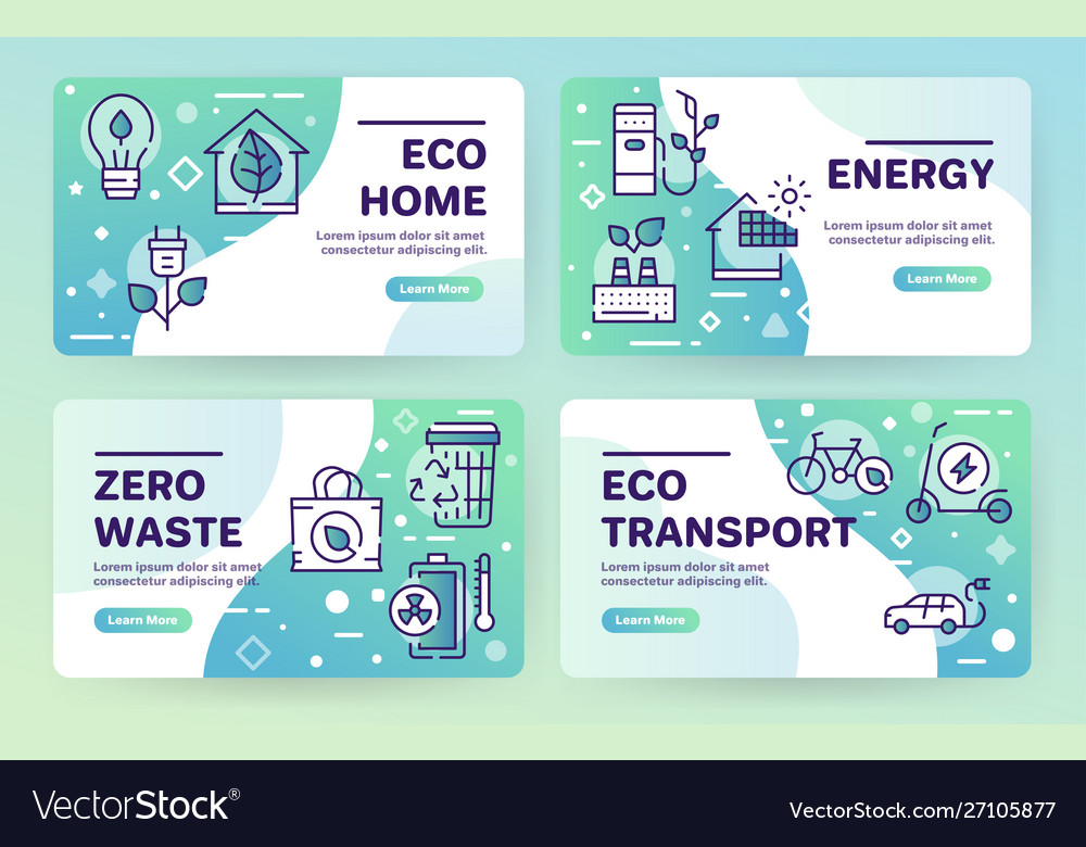 Nature conservation green color linear icons set