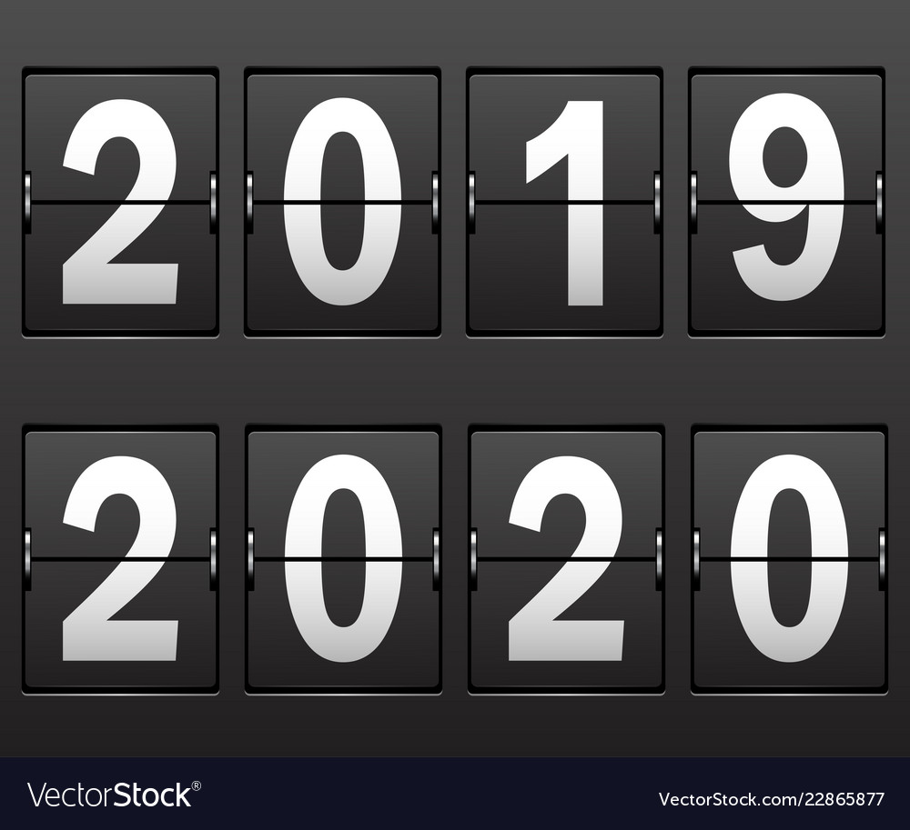 New years date 2019 2020 numbers on scoreboard