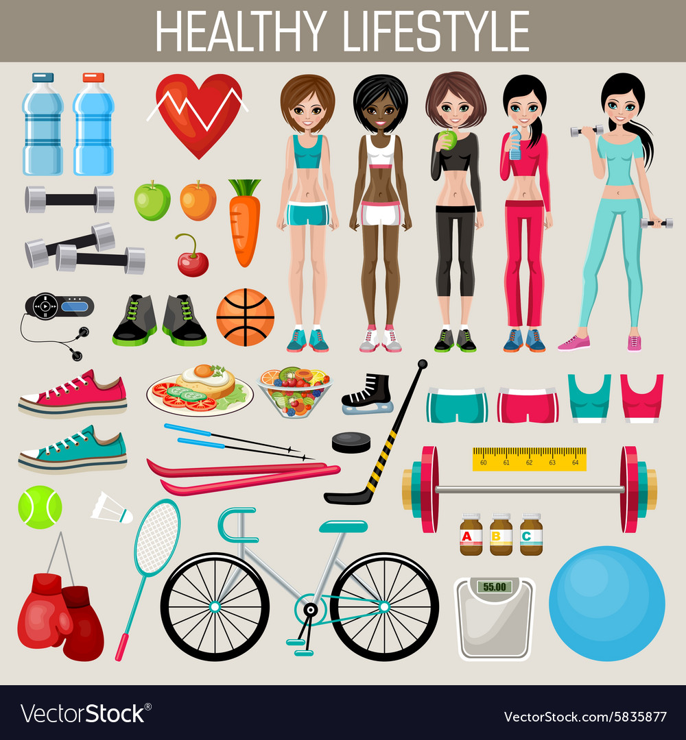 Set of healthy lifestyle elements