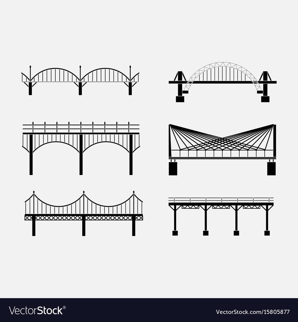 Set of silhouette bridge icons bridges suspension