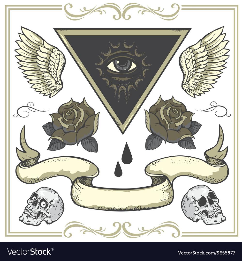Set of Tattoo-art design elements