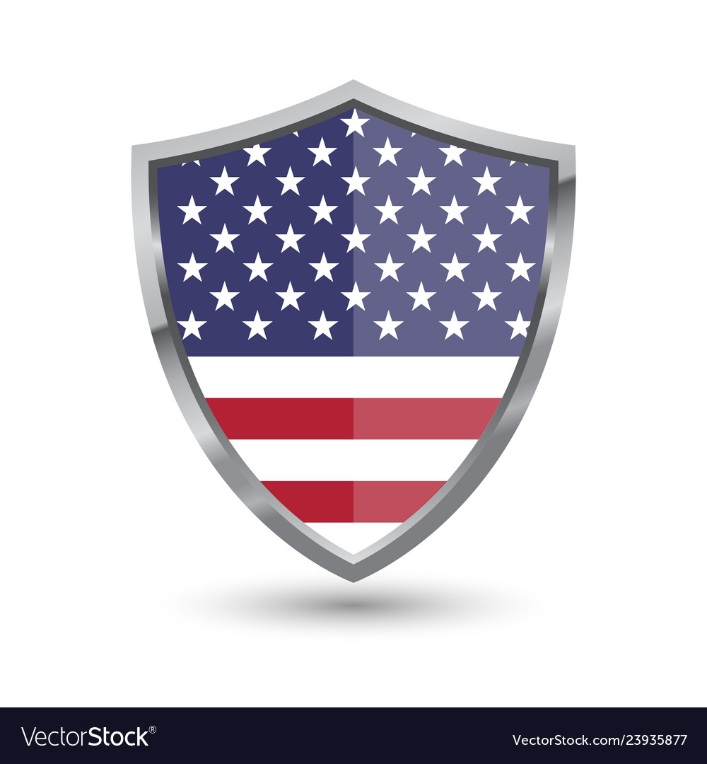 Shield with flag of usa isolated