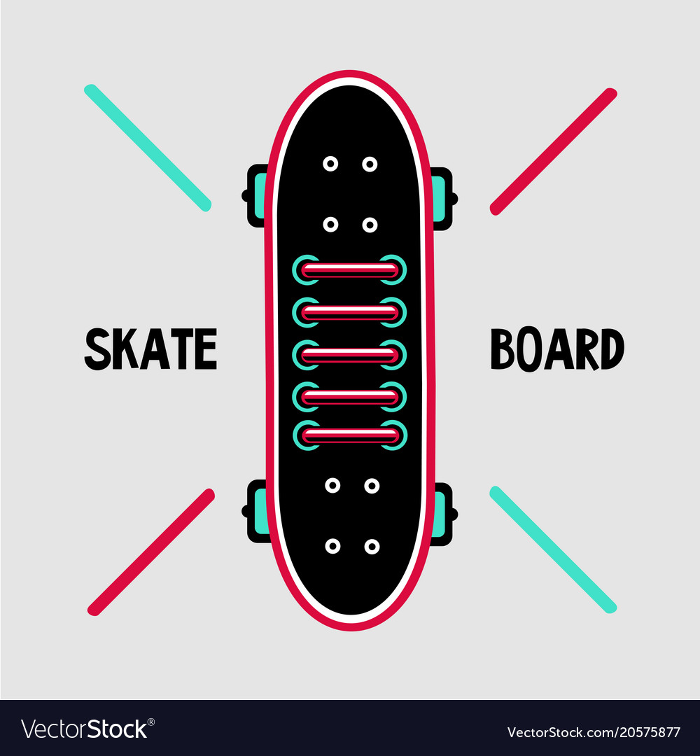 Skateboard deck with sneakers lace skaters shoes