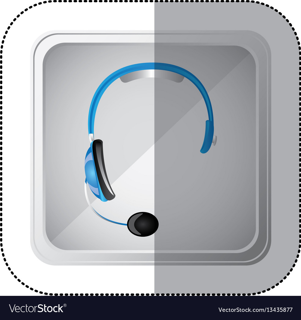 Sticker silver square button with blue headphones vector image