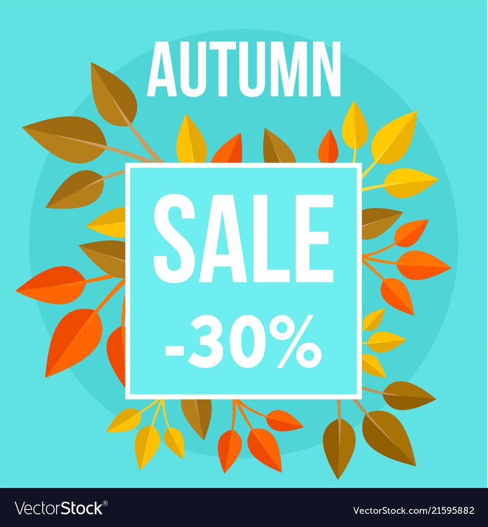 Autumn sale market blue background flat style