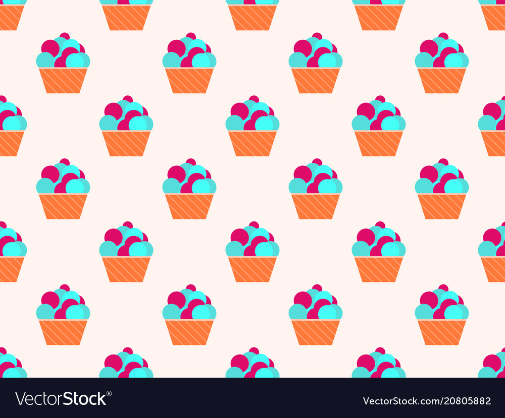 Cake seamless pattern the cream in the basket