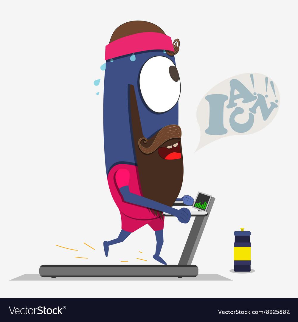 Cool monster running on a treadmill Sportpartner vector image