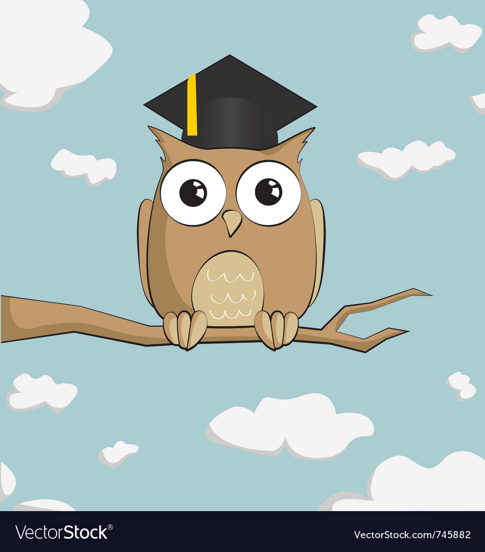 Graduated cute cartoon owl