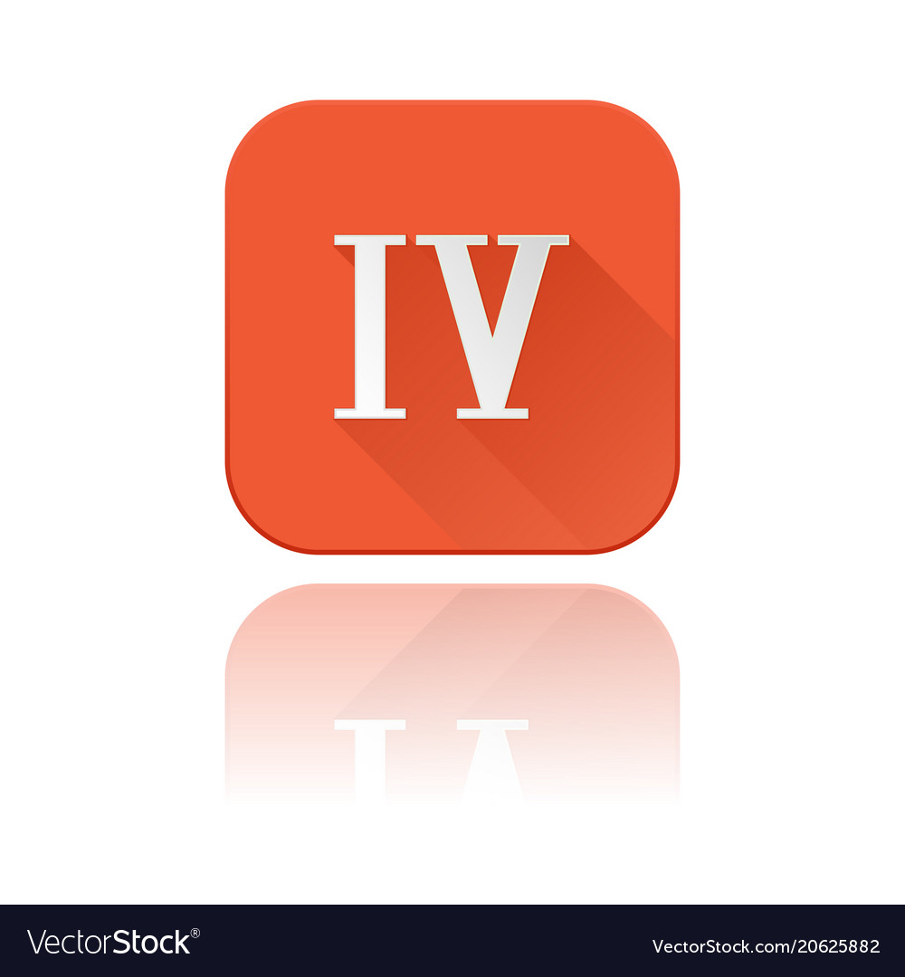 Iv roman numeral orange square icon with