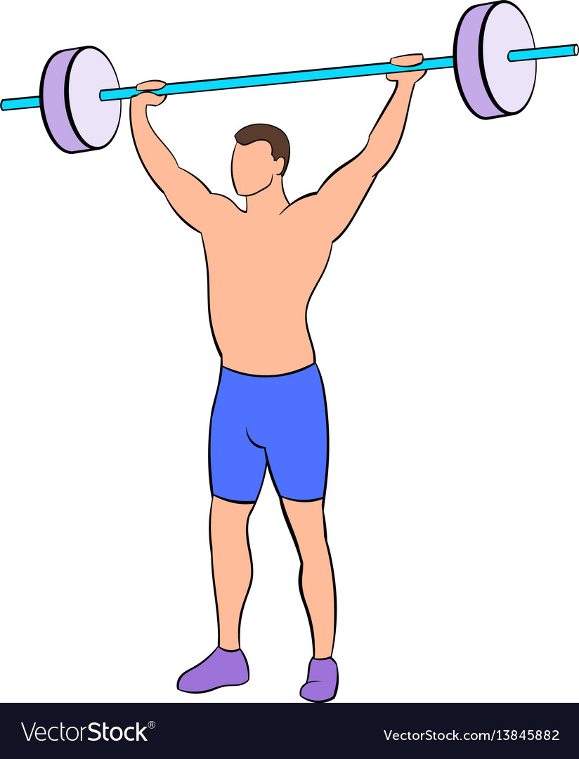 Man with barbell icon cartoon