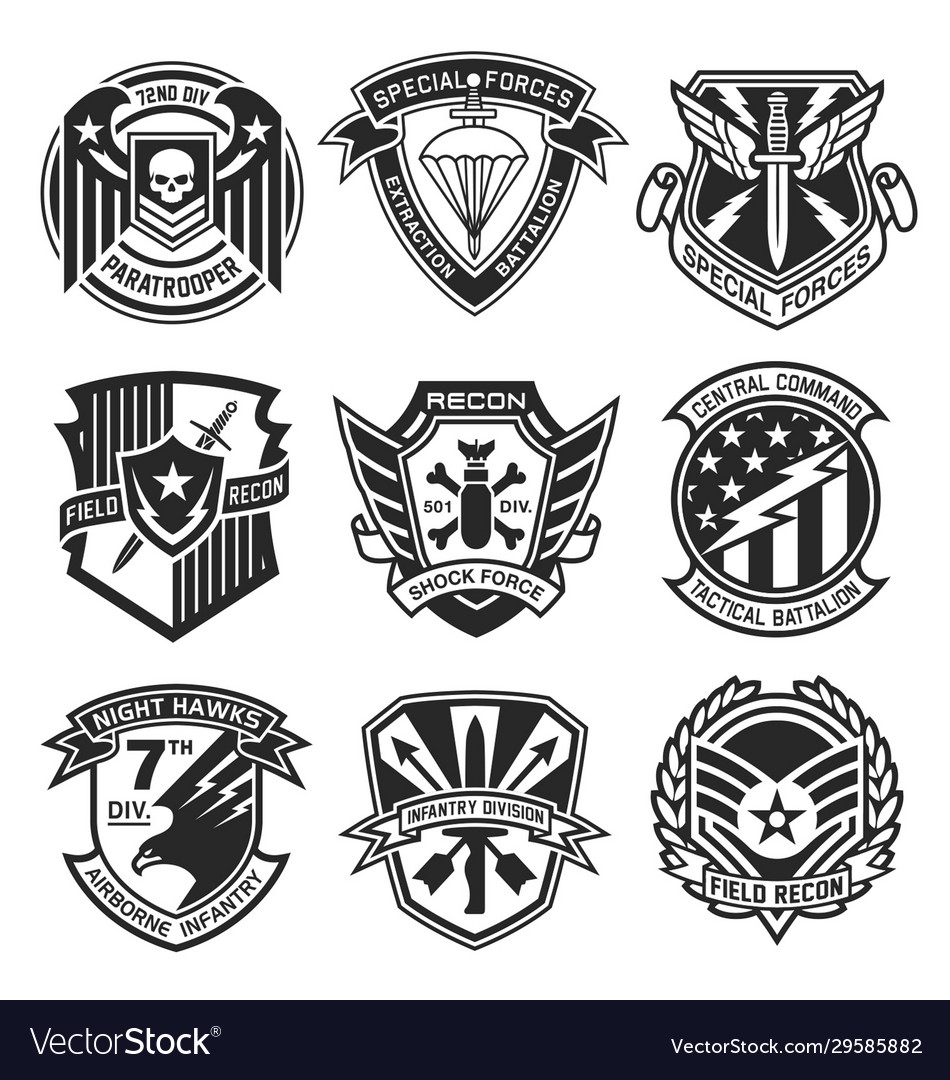 Military patch emblem badge set