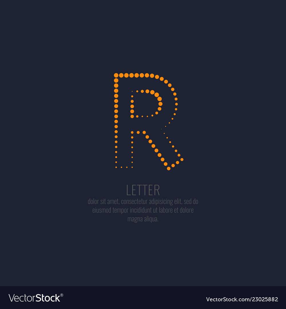 Modern dotted letter r of the latin alphabet