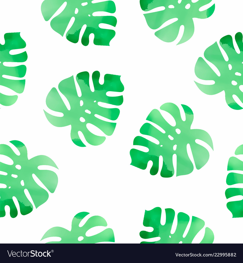 Monstera floral color watercolor seamless